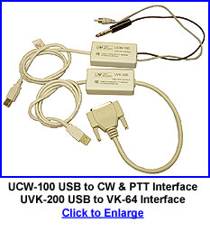 UCW-100 USB to CW and PTT Interface, UVK-200 USB to VK-64 Interface